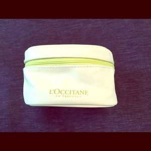 New! White L'Occitane Cosmetic Zipper Pouch